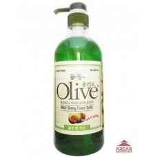 073469 OLIVE Увлажняющая пена для ванны / гель для душа с экстрактом оливы и листьев алоэ вера, объем 0,75 л